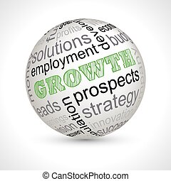 Growth theme sphere with keywords full vector