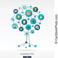 Growth tree concept for business, communication, marketing research