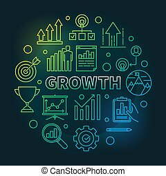 Growth vector circular colored outline round illustration