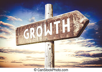 Growth - wooden signpost, roadsign with one arrow