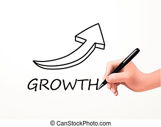 growth word and arrow drawn by human hand