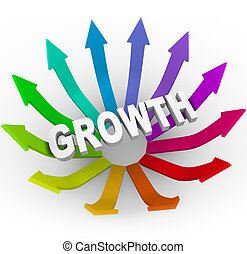 Growth Word and Colorful Arrows