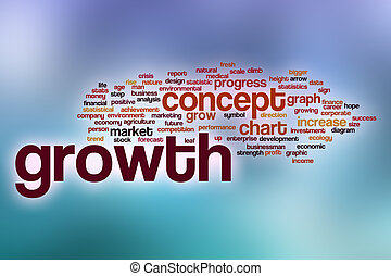 Growth word cloud with abstract background