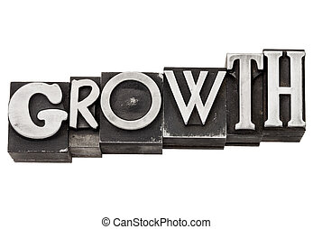 growth word in metal type