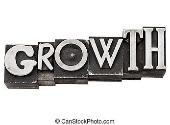 growth word in metal type