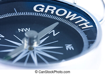 growth word on compass showing direction concept
