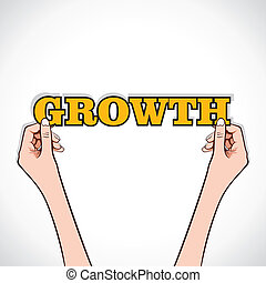 growth word sticker in hand
