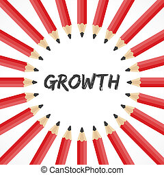 Growth word with pencil background