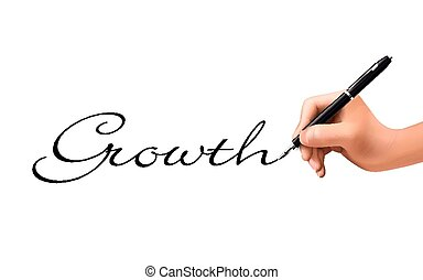 growth word written by 3d hand