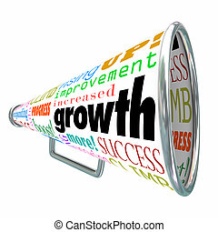 Growth Words Bullhorn Megaphone Increase Improve Rise Up