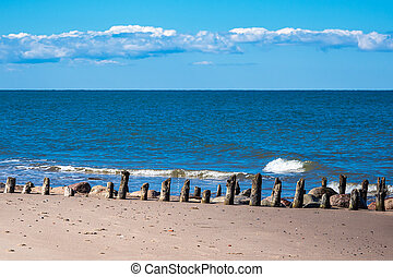 Groyne on the Baltic Sea coast in Kuehlungsborn, Germany