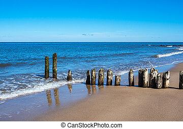 Groyne on the Baltic Sea coast in Kuehlungsborn, Germany