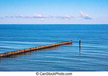 Groyne on the Baltic Sea coast in Nienhagen, Germany