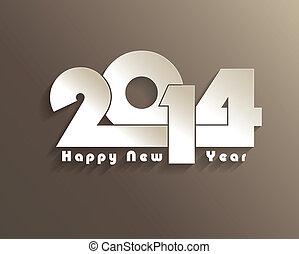gruß, neu , kreativ, design, jahr, 2014, karte, glücklich