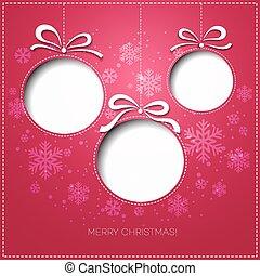 gruß, papier, design, fröhlich, bauble., weihnachtskarte