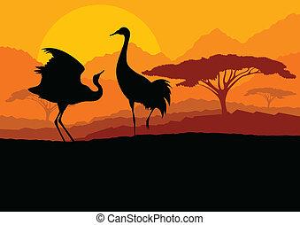 gru, coppia, in, selvatico, montagna, paesaggio natura, fondo, illustrazione, vettore