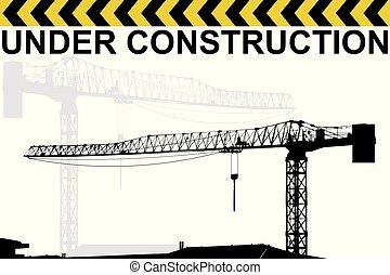 gru, costruzione, silhouette, fondo, sotto
