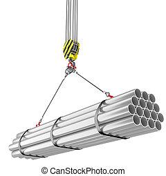 gru, gancio, sollevamento, di, acciaio, tubi per condutture