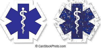gru, notfall, symbol, medizin