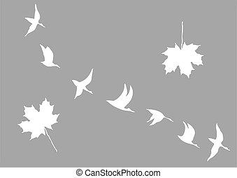 gru, silhouette, vettore, acero, mette foglie