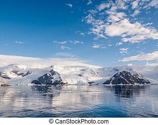 grubb, calving, baía, península, lester, enseada, bagshavve, geleiras, antárctico, andvord, antártica