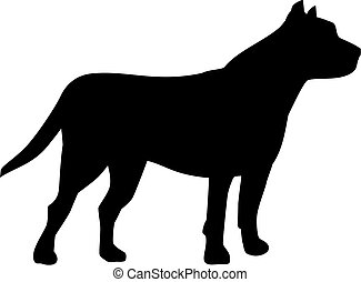 grube, silhouette, hund, stier