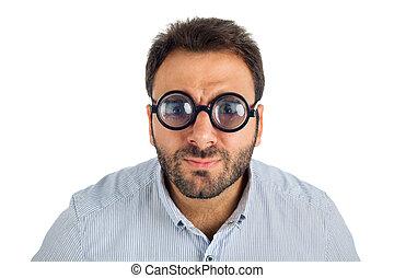 gruby, człowiek, wyrażenie, zdziwiony, okulary