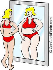 gruby, kobieta, cienki