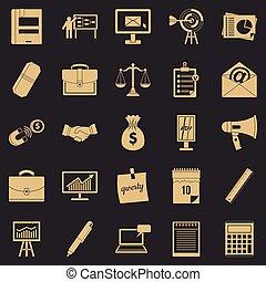 gruby, produkt, ikony, komplet, styl, prosty