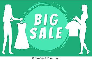 grucce, donne, vettore, vestiti, vendite, grande