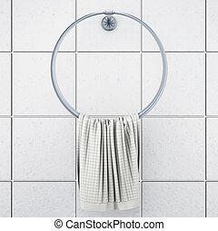gruccia, asciugamano, interpretazione, bianco, 3d, tile.