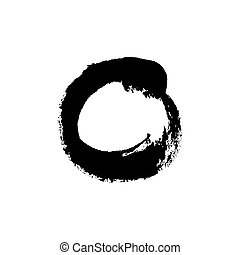 Grudge brush stroke circle isolated on white. Vector design element