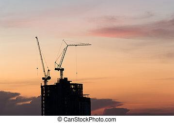 grue bâtiment, construction, silhouette