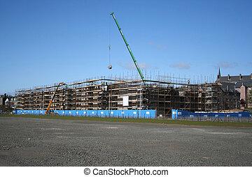 grue bâtiment, site