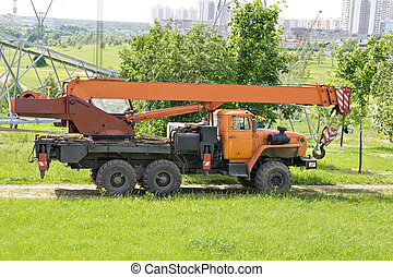 grue, camion