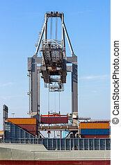 grue, chargement, navire porte-conteneurs