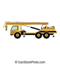 grue, construction, camion