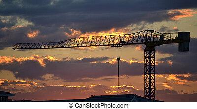 grue, construction, coucher soleil