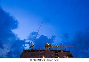 grue, construction, crépuscule, sky.