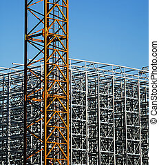grue, construction, métal, frame., structure