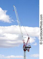 grue, construction, nuages, site, fond