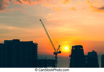 grue, construction, silhouette
