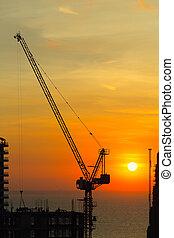 grue, construction, silhouette