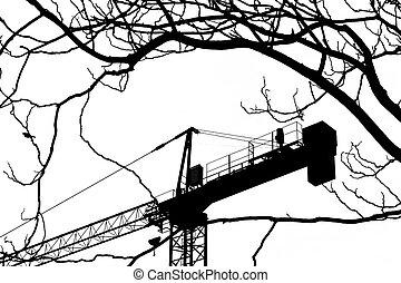grue, construction, silhouette, vue