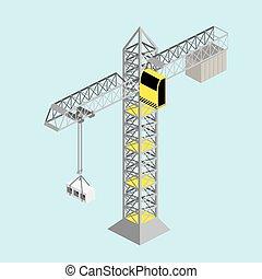grue construction, vecteur, isométrique