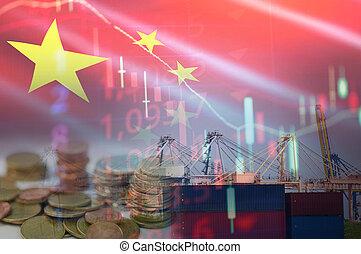 grue, industrie, port, cargaison, exportation, importation, bateau, business, récipient expédition, logistique, transport, eau