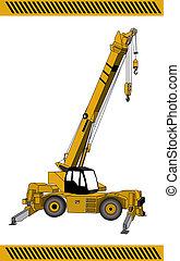 grue, machinerie, équipement, construction
