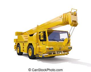grue, monté, camion