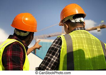 grue, ouvrier construction, pointage, jaune