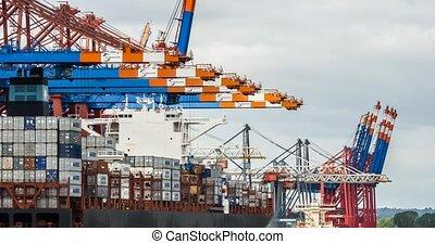 grue, port, bateaux, chargement
